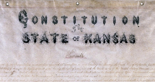 The Lecompton Constitution, one of several constitutions proposed for the state of Kansas. (Photo by the Kansas Historical Society)