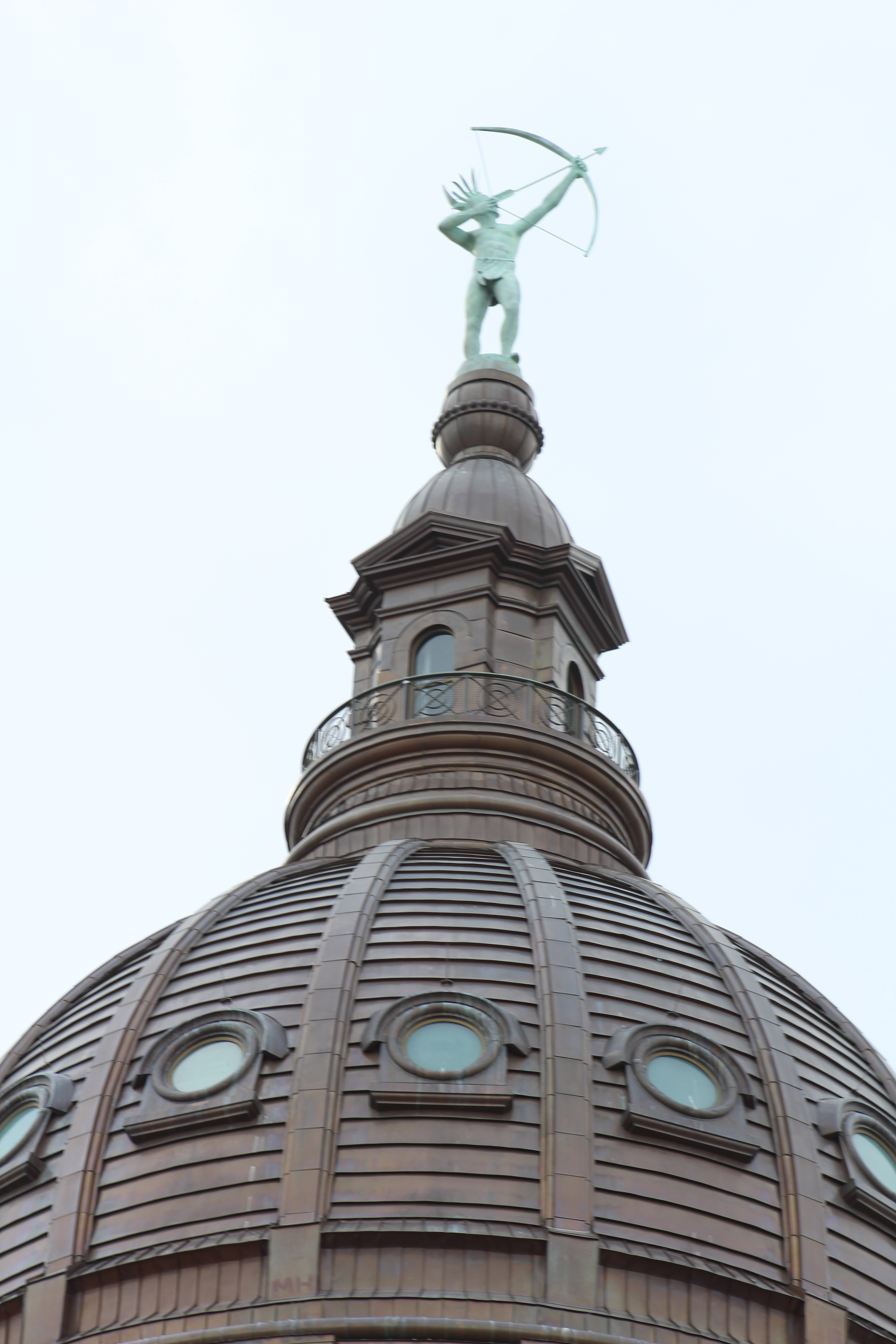 Ad Astra is the name of the statue of the Kansa Indian, which stands atop the Kansas Statehouse dome. (Photo by J. Schafer)