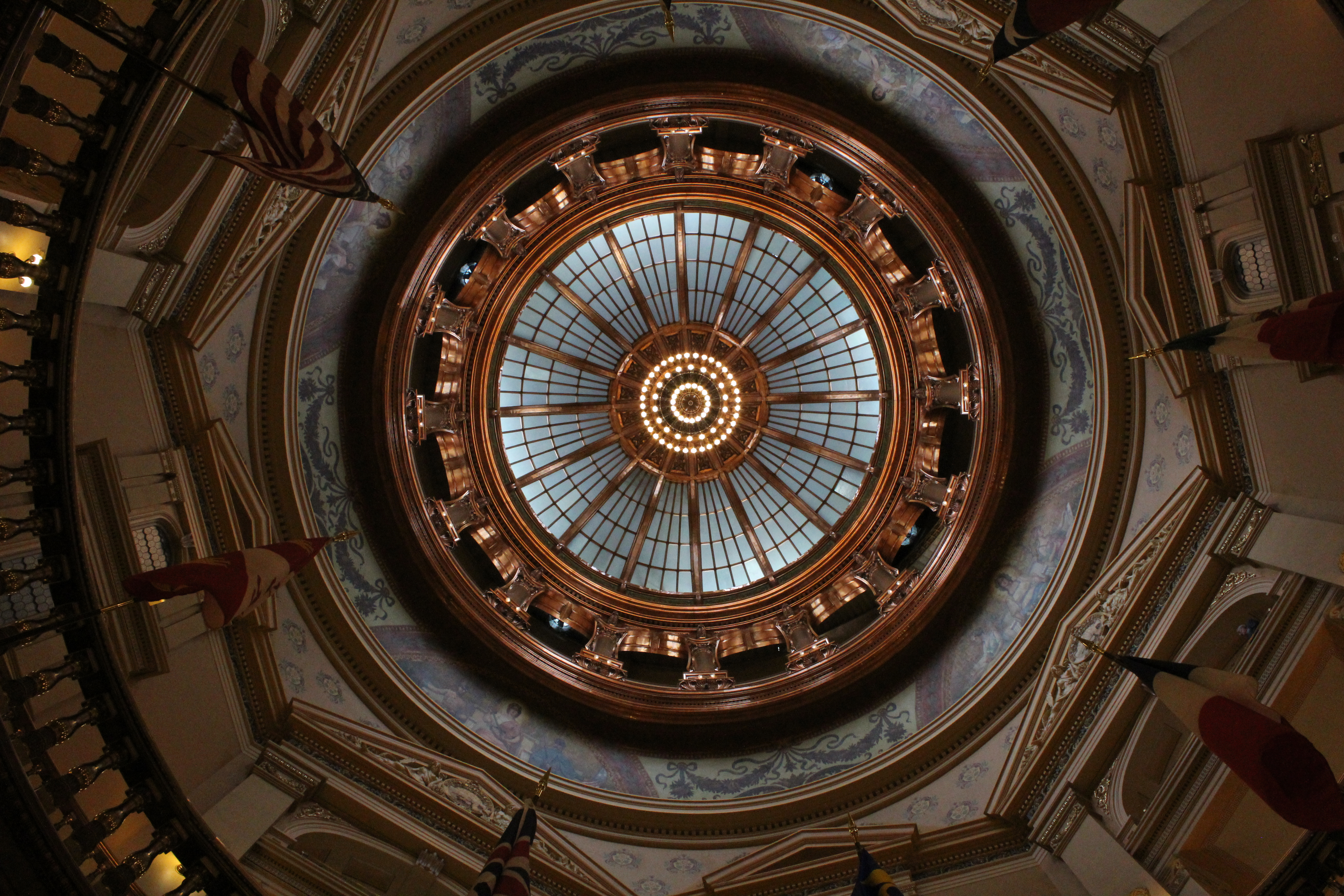 This is the view from inside the rotunda, looking up five floors and then some to the inner statehouse dome. (Photo by J. Schafer)