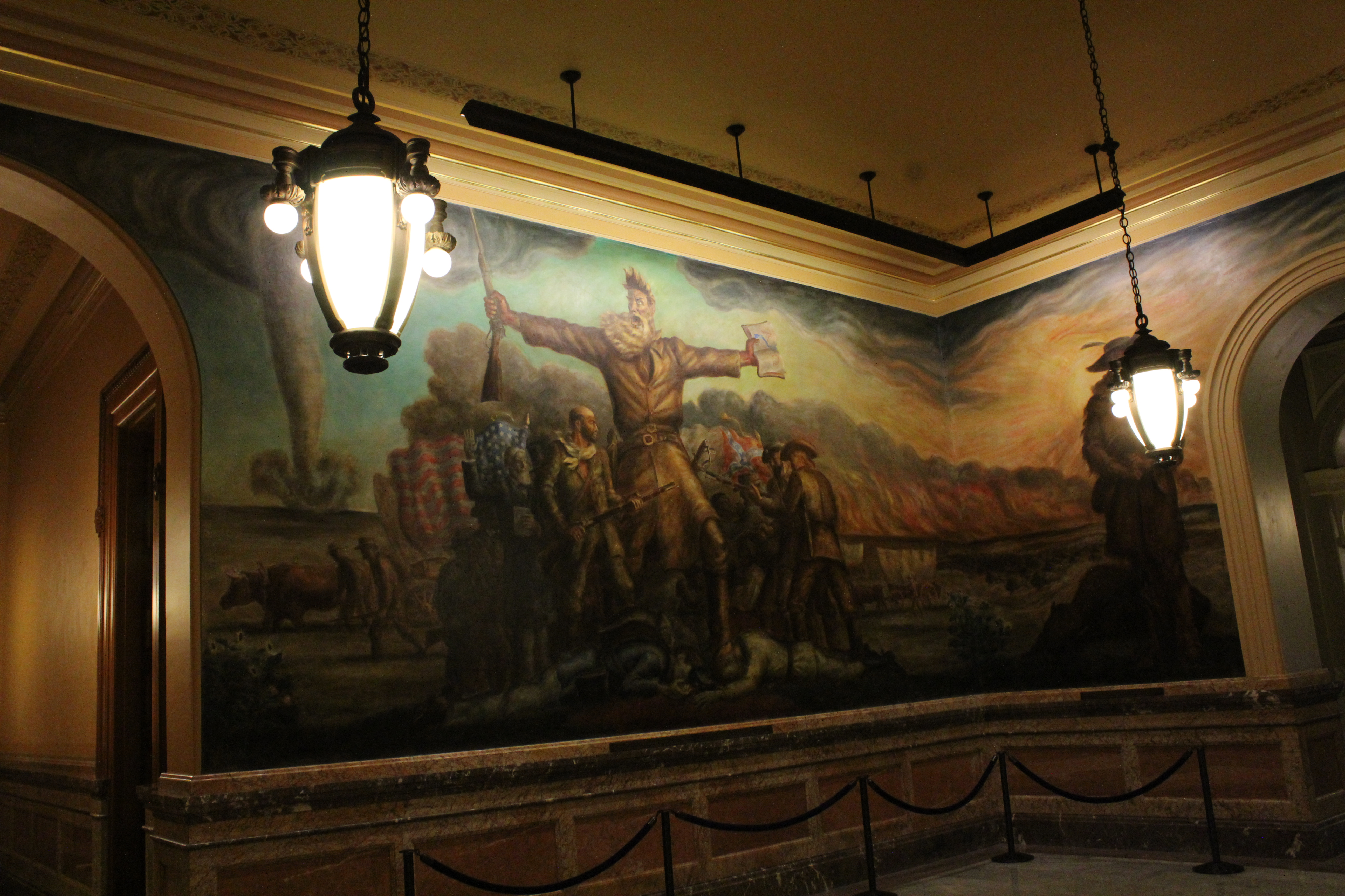 Abolitionist John Brown takes center stage in this iconic mural by John Steuart Curry.  The unsigned piece, titled Tragic Prelude, depicts an approaching tornado, foreshadowing the American Civil War. (Photo by J. Schafer)