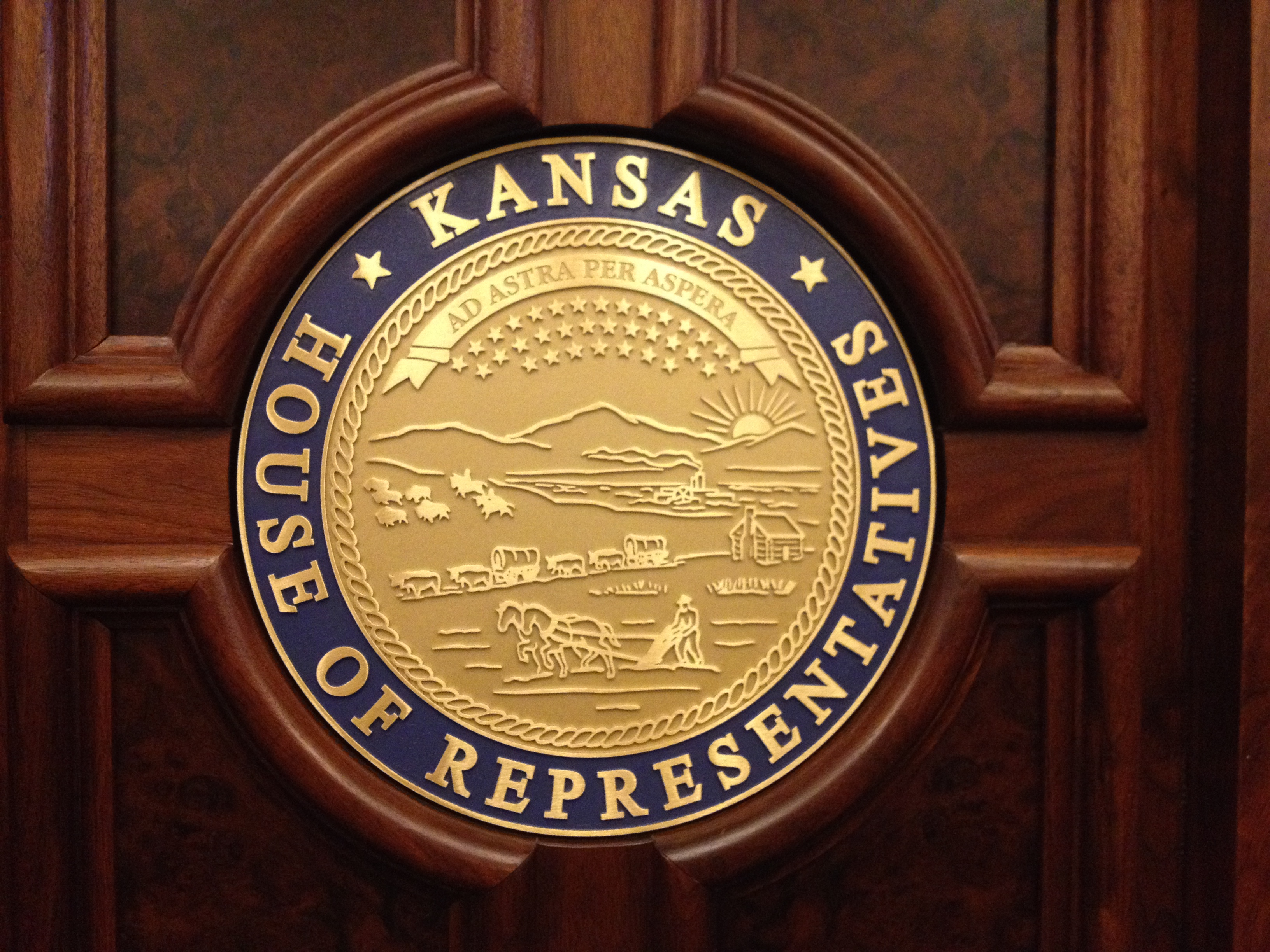 Seal of the Great State of Kansas inside the Kansas House chamber (Photo by J. Schafer)