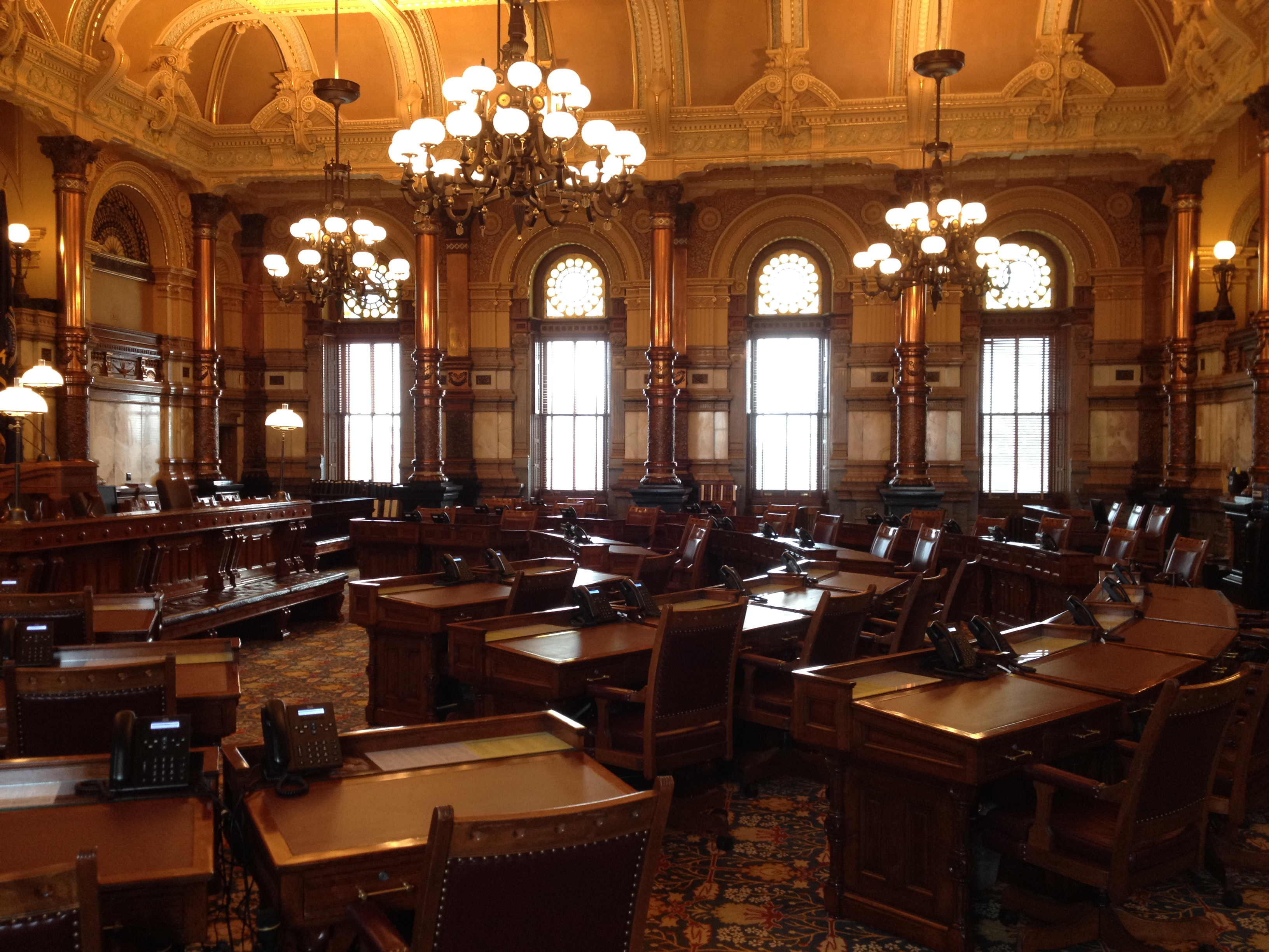 The Kansas Senate chamber, which is located on the third floor (like the House chamber) is stately and ornate. (Photo by J. Schafer)