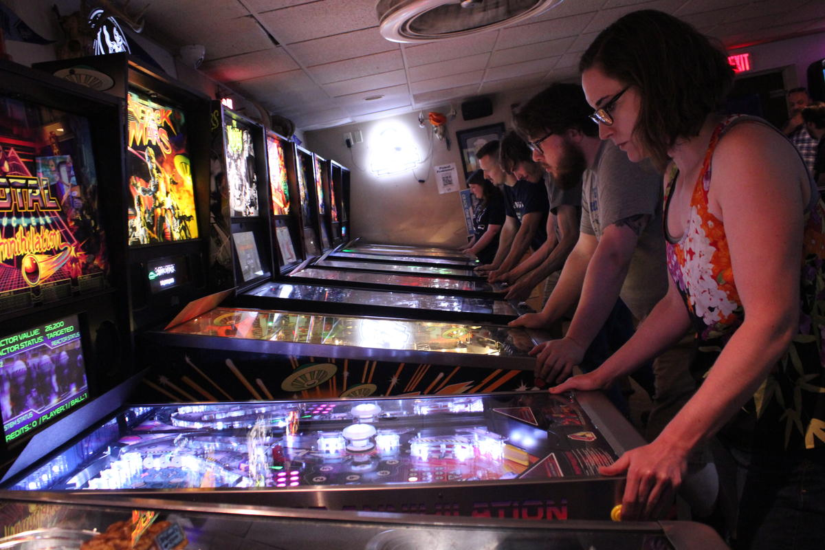The 403 Club in Kansas City, Kansas, hosts weekly pinball tournaments open to players of all skill levels. (Image credit: Kyle Palmer/KCUR)