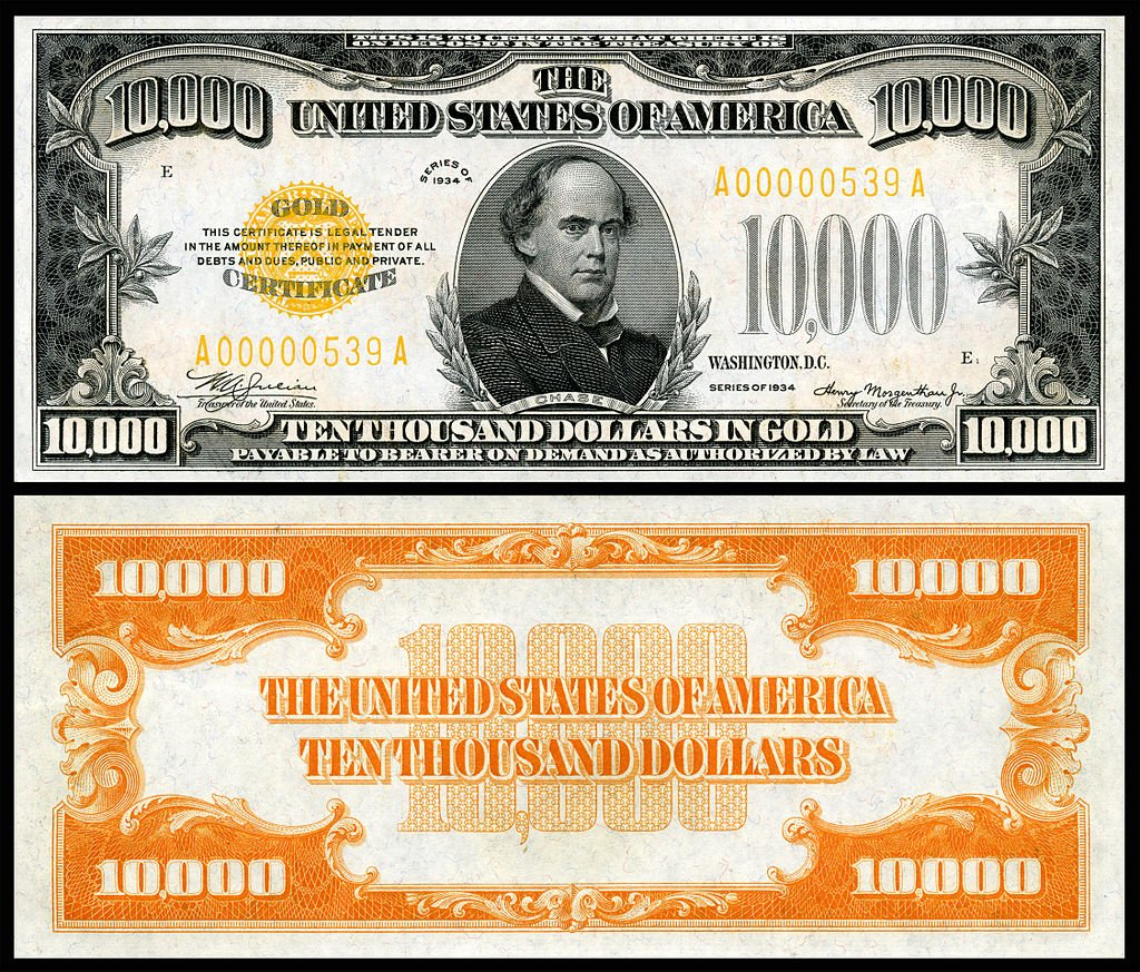 Salmon Portland Chase is depicted on the U.S. $10,000 bill. This Gold Certificate series banknote is from 1934.  (Photo credit: National Numismatic Collection at the Smithsonian Institution)