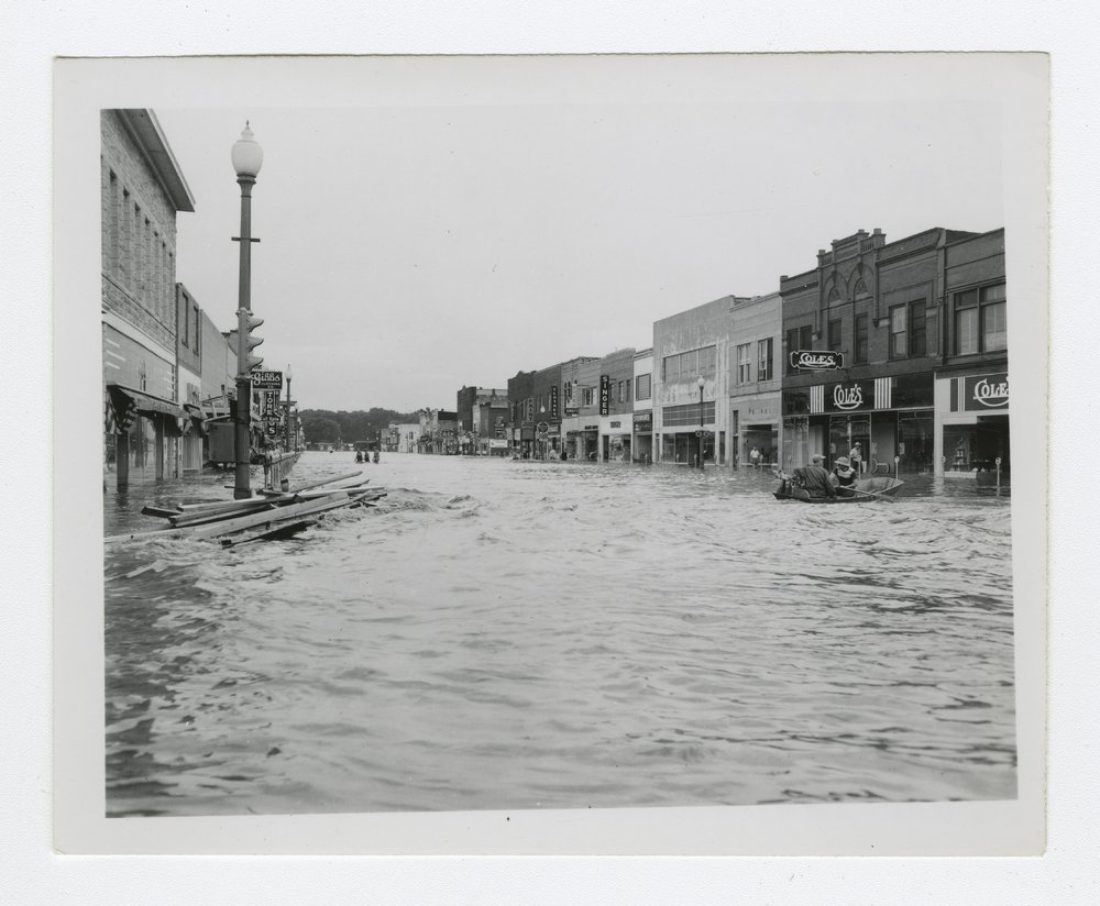The 1951 flood in Manhattan, Kansas, taken by Francis Velora King and Mabel Alberta King. (Photo Courtesy of Kansas Historical Society / kansasmemory.org)