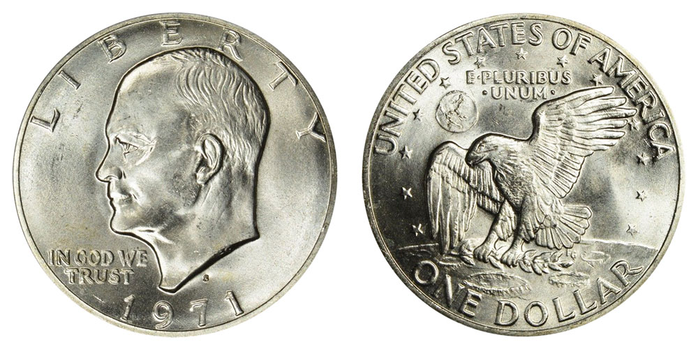 """""""The Eagle has landed."""" This Eisenhower dollar coin from 1971 features a bald eagle, representing America, landing on the Moon."""