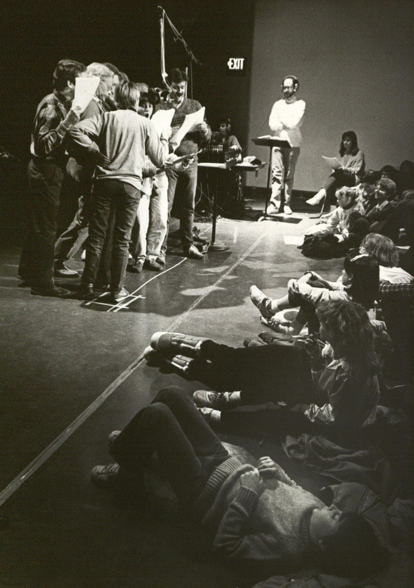 """Brogdon overseeing a production of the """"Imagination Workshop"""" in 1987."""