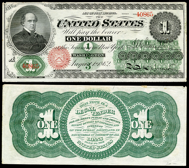 Salmon P. Chase was also depicted on this early $1 bill, from the Civil War era. (Photo credit: National Numismatic Collection at the Smithsonian Institution)