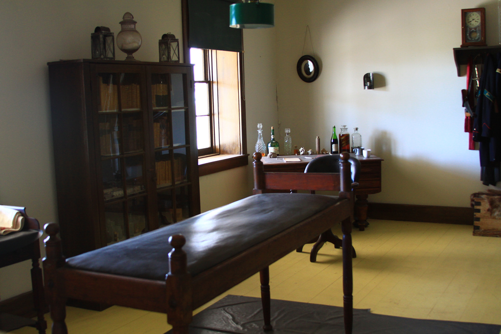 This operating table is said to be the original table from the fort. (Flickr/Kansas Tourism)