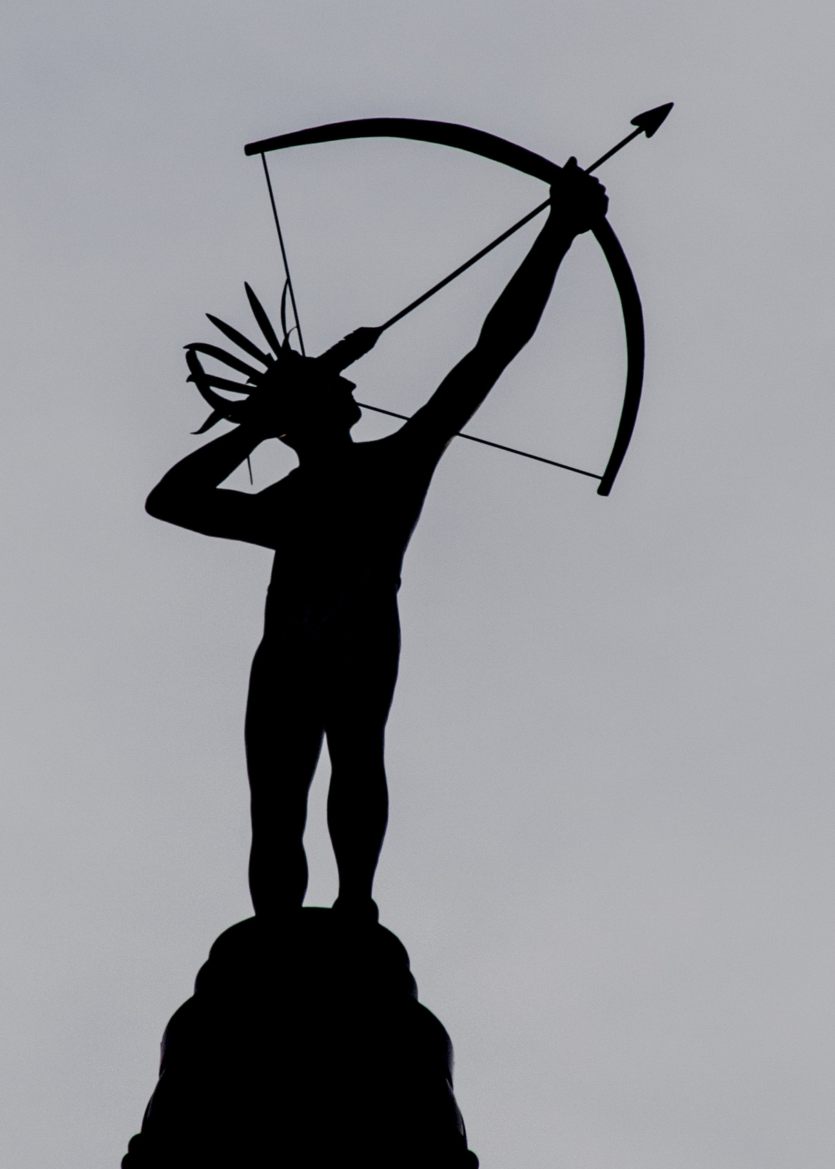 Ad Astra is the name of the statue of the Native American standing atop the Kansas Statehouse dome. (Photo by Dan Skinner)