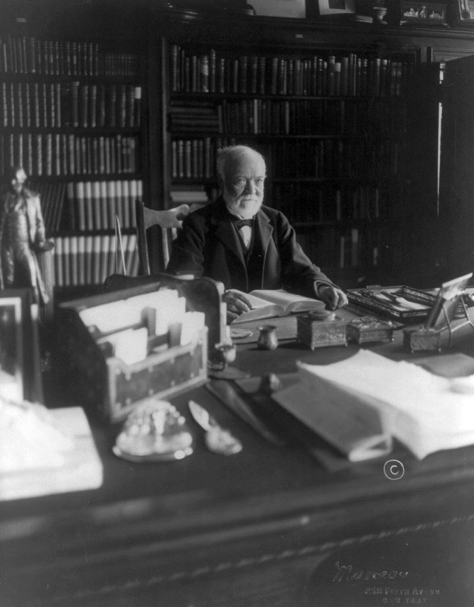 Andrew Carnegie, c. 1913, was a wealthy industrialist who made his fortune in steel manufacturing and railroads. (Photo Courtesy of Library of Congress)