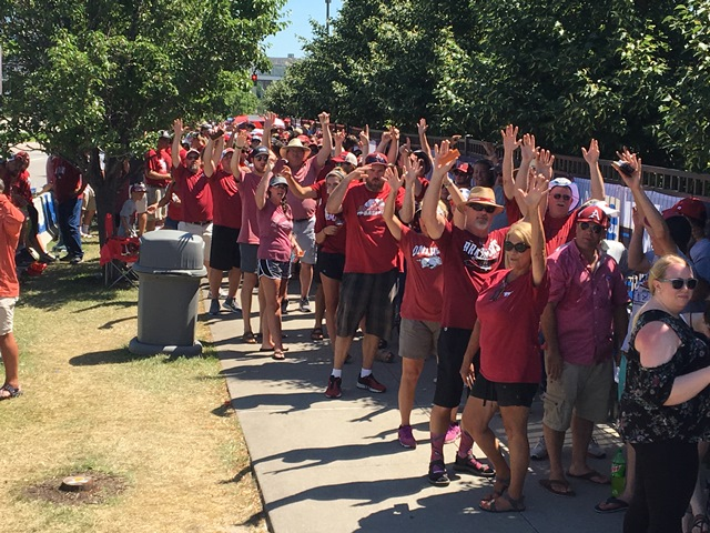 Arkansas fans wait in line to enter the stadium at the College World Series in Omaha. (Photo by Greg Echlin)