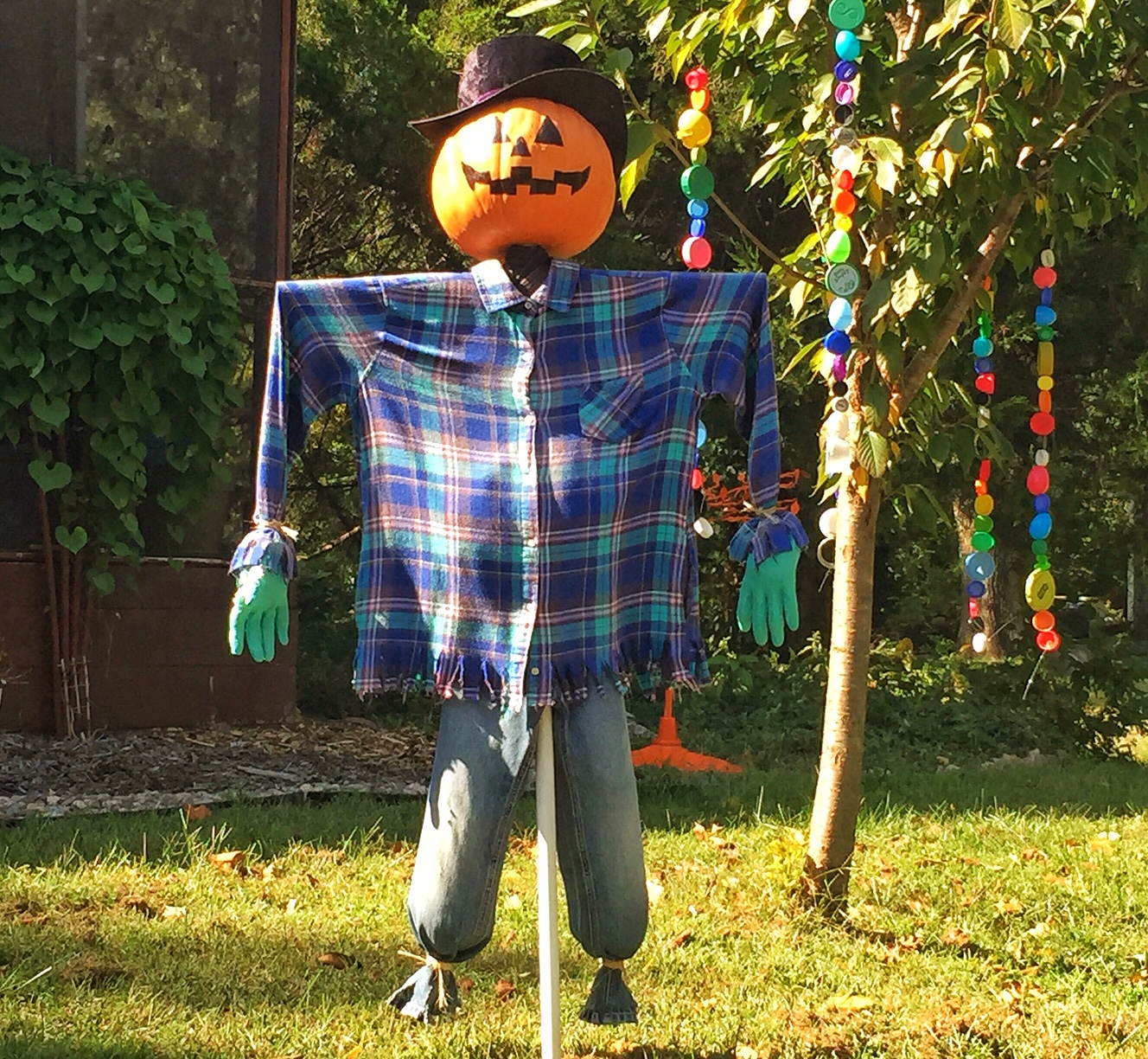 Homemade Halloween scarecrow seen in North Lawrence. (Photo by J. Schafer)