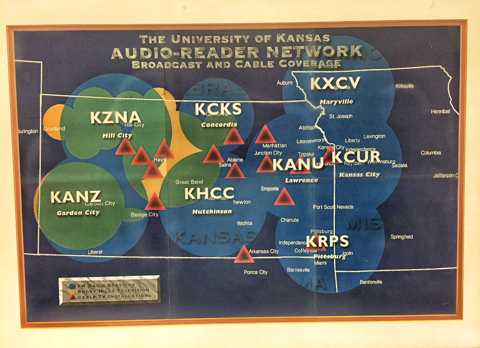 Map of Audio-Reader's service area, which includes most of Kansas and portions of surrounding states. (Photo by J. Schafer)