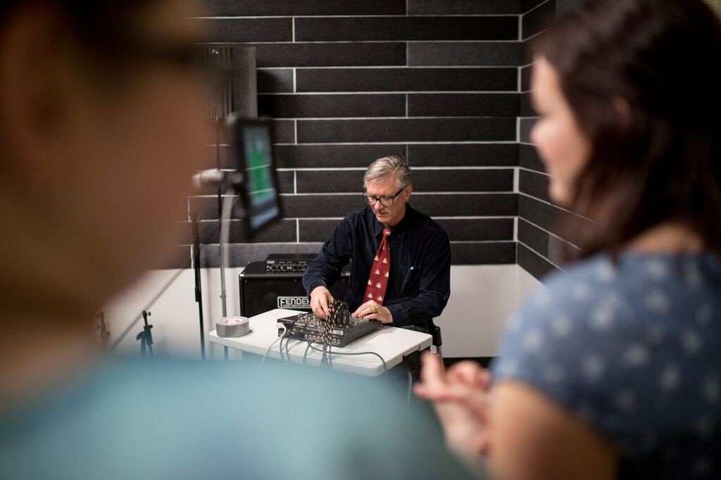Kip Haaheim, Professor of Music Composition at KU, demonstrates the AUMI technology at an open jam session at Lawrence Public Library's Sound+Vision Studio.
