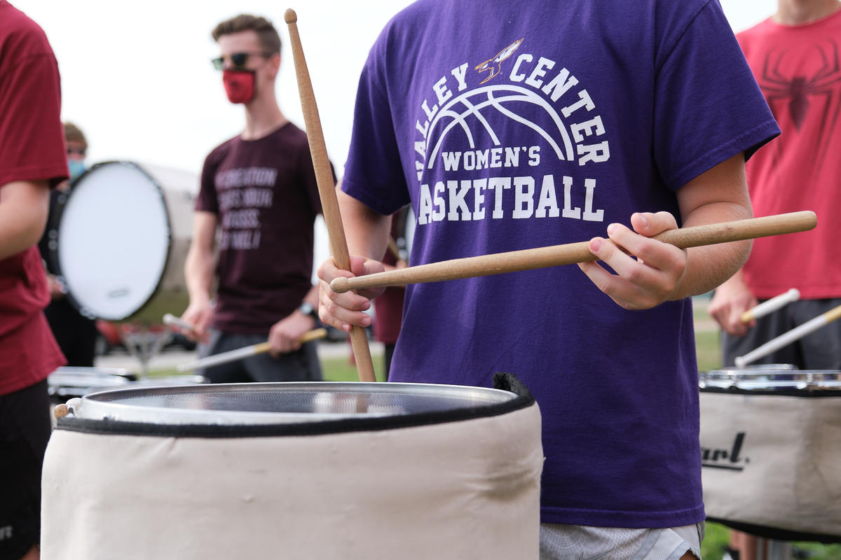 A student plays a snare drum during band camp at Valley Center High School. (Photo by Brian Grimmett, Kansas News Service)