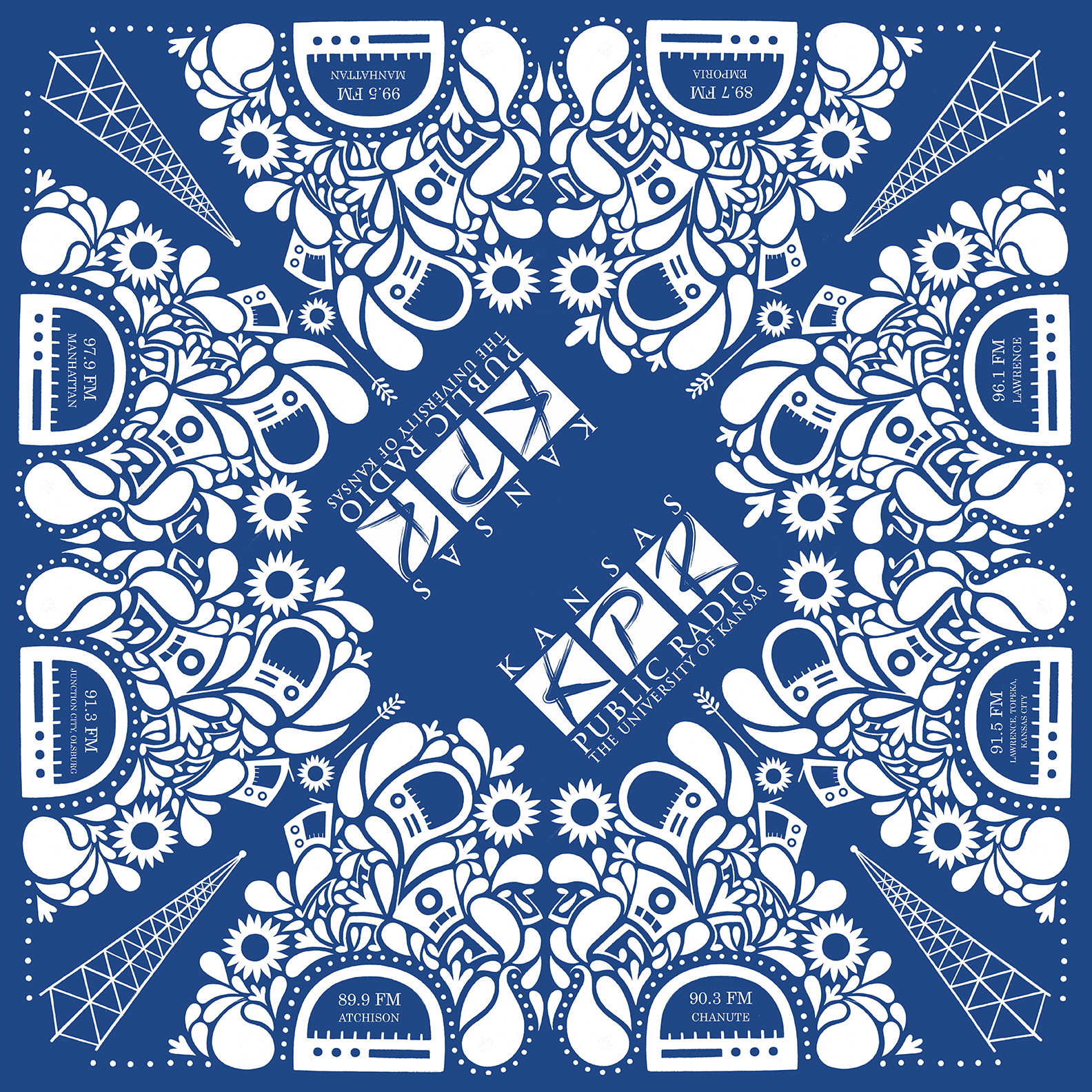 """These custom KPR bandanas were designed by our very own talented intern, Emily Fisher (a design student at the University of Kansas). Bandana measures 21 ½"""" x 21 ½"""", royal blue with white imprint."""