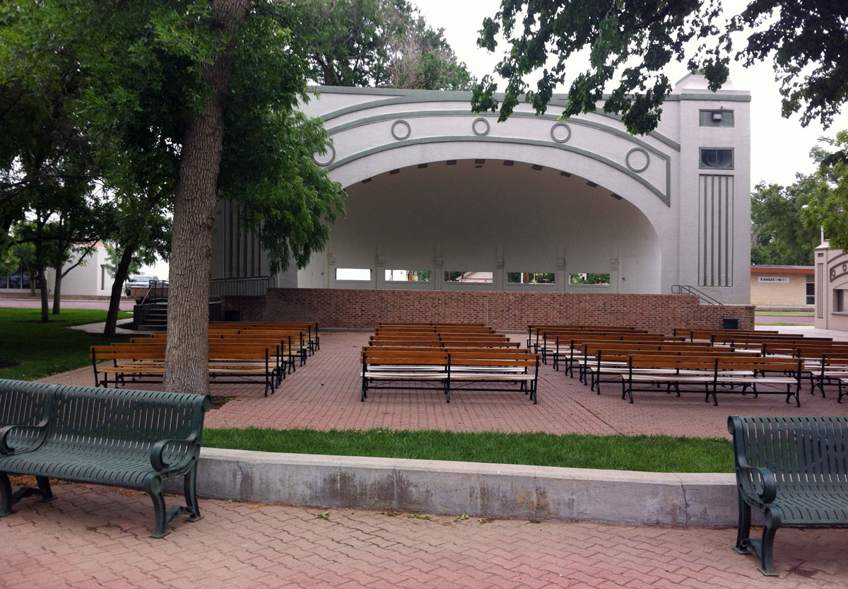 Band shell in downtown park, Garden City, Kan. (Photo by David Guth)
