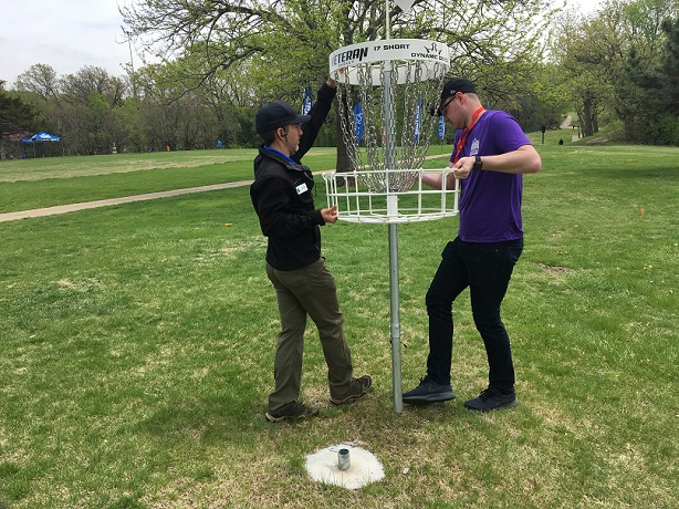 A basket on the course is being moved between the women's and men's rounds to increase the degree of difficulty.
