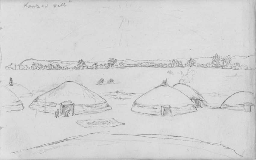 Sketch of the Blue Earth Village, near present day Manhattan (Photo from Kansas Historical Society)