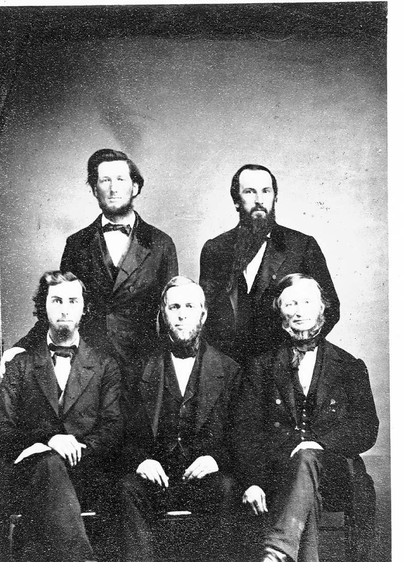 Robert L. Harford, J. G. Schnebly, Washington Marlatt, Joseph Denison, and Isaac T. Goodnow, the first five professors at Bluemont Central College, which later became Kansas State University, Manhattan, Kansas. Date: 1863 (Photo Courtesy of Kansas Historical Society / kansasmemory.org)