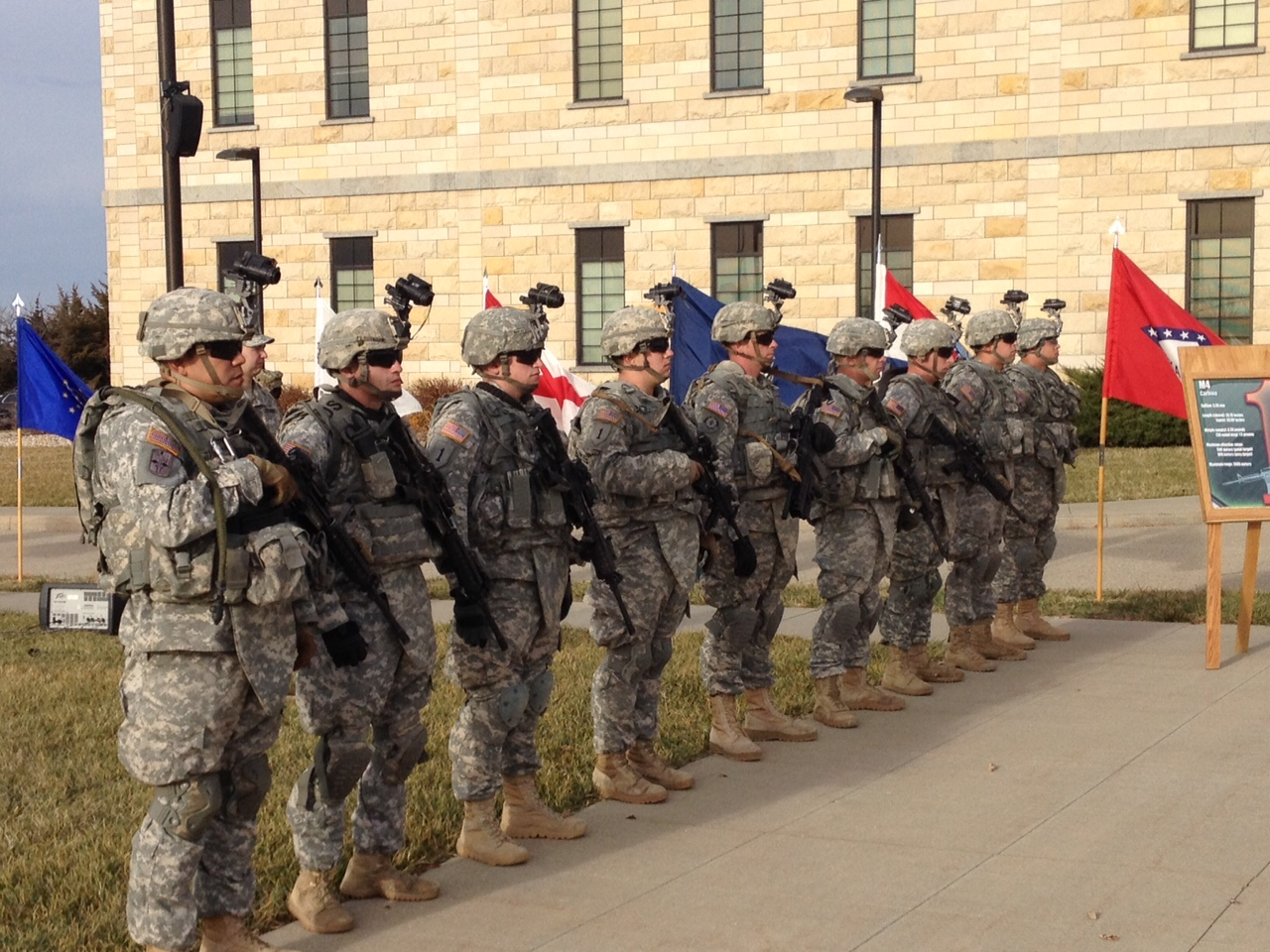 Soldiers of the First Infantry Division, headquartered at Fort Riley, a sprawling army base near Junction City and Manhattan in the Flint Hills of northeast Kansas.  (Photo by J. Schafer)
