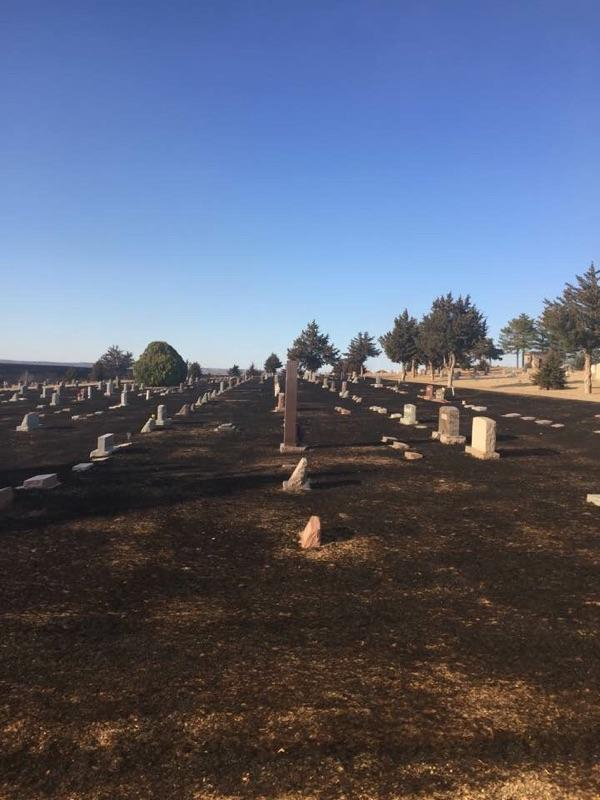 Photo reportedly of the charred grass of a cemetery near Ashland, Kansas. (Unverified photo posted on Facebook by residents of the area.)