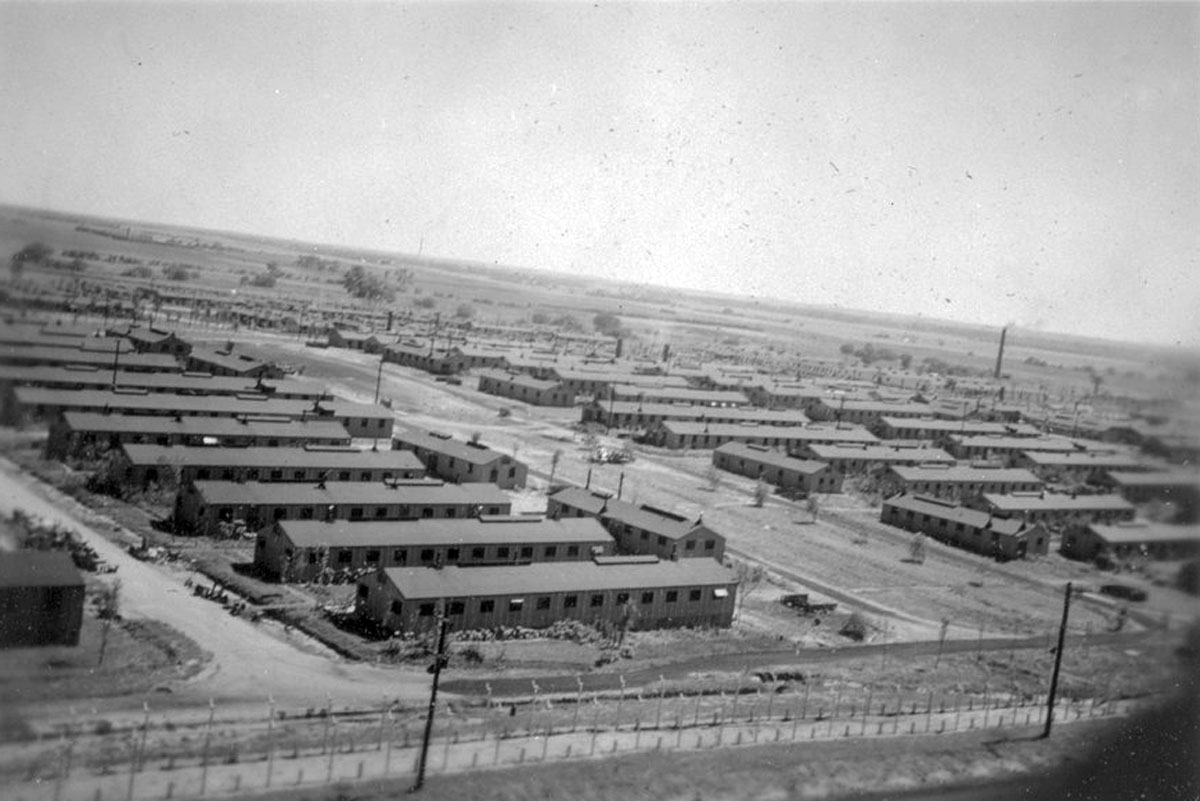 Camp Concordia in Cloud County, Kansas. The facility was one of several camps built across Kansas during World War II to house German Prisoners of War. Date: Between 1943 and 1945 (Courtesy of Kansas Historical Society / kansasmemory.org)
