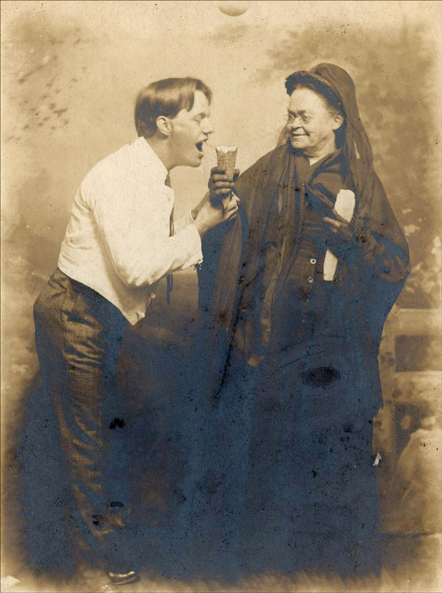 Temperance leader Carry Amelia Nation, between 1890 and 1910, holding an ice cream cone before an unidentified man. (Photo Courtesy of Kansas Historical Society/kansasmemory.org)