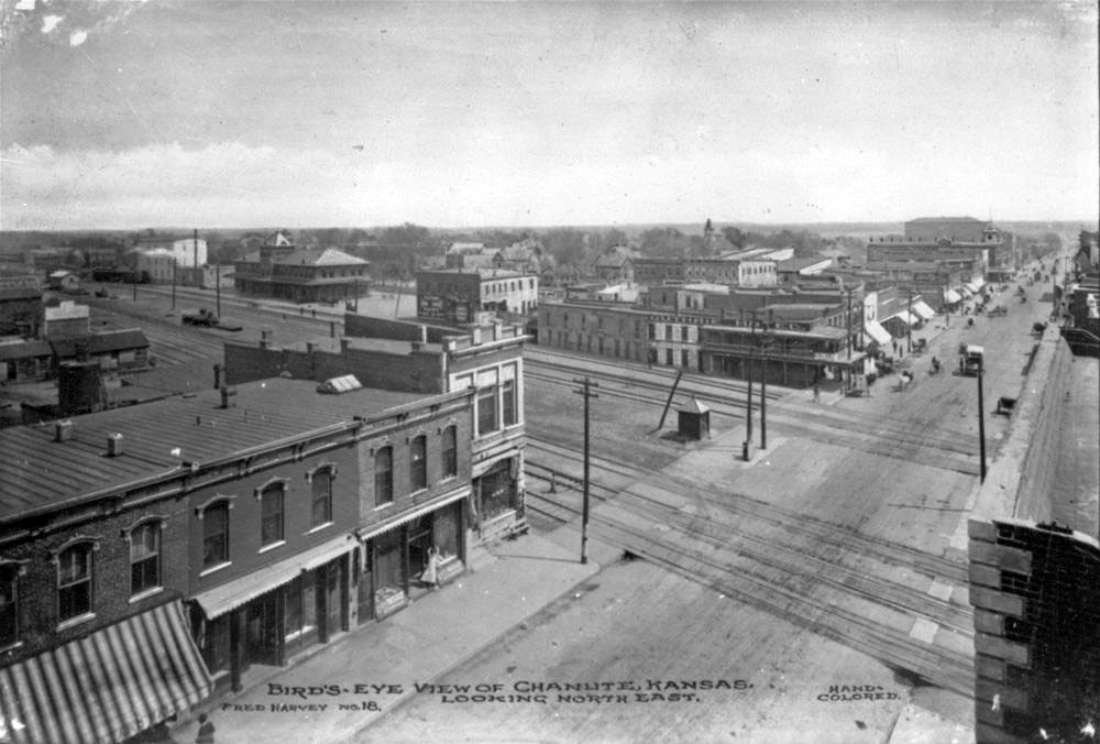 A bird's-eye view of Chanute, Kan., looking east, taken between 1900 and 1909. (Photo Courtesy of Kansas Historical Society / kansasmemory.org)