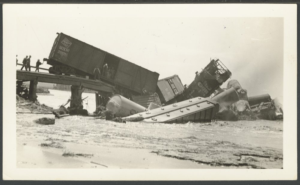 A flood on the Cimarron River caused a train wreck near Arkalon, Kan., in 1938, and became the final impetus to build the Samson of the Cimarron in 1939. (Photo Courtesy of kansasmemory.org / Kansas Historical Society)
