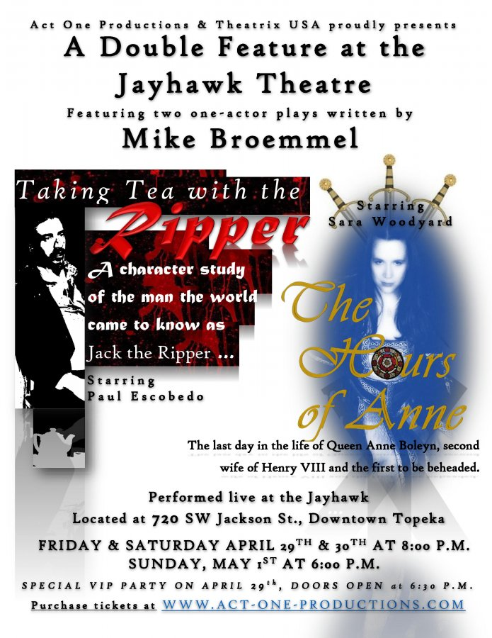 A Double Feature at the Jayhawk Theatre, two plays written by Mike Broemmel