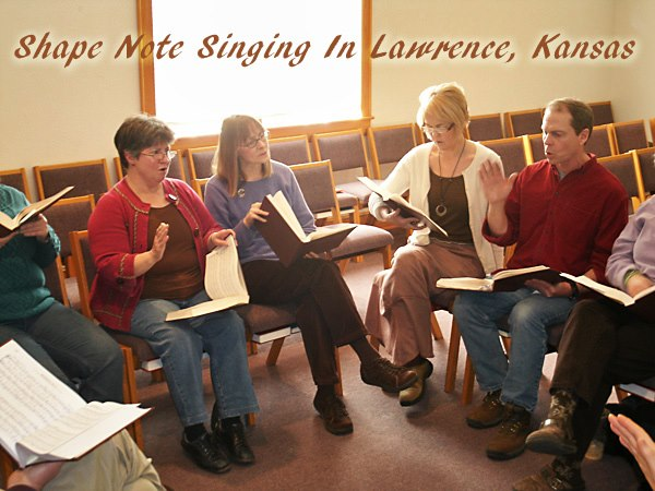 Photo of a Lawrence shape note sing.