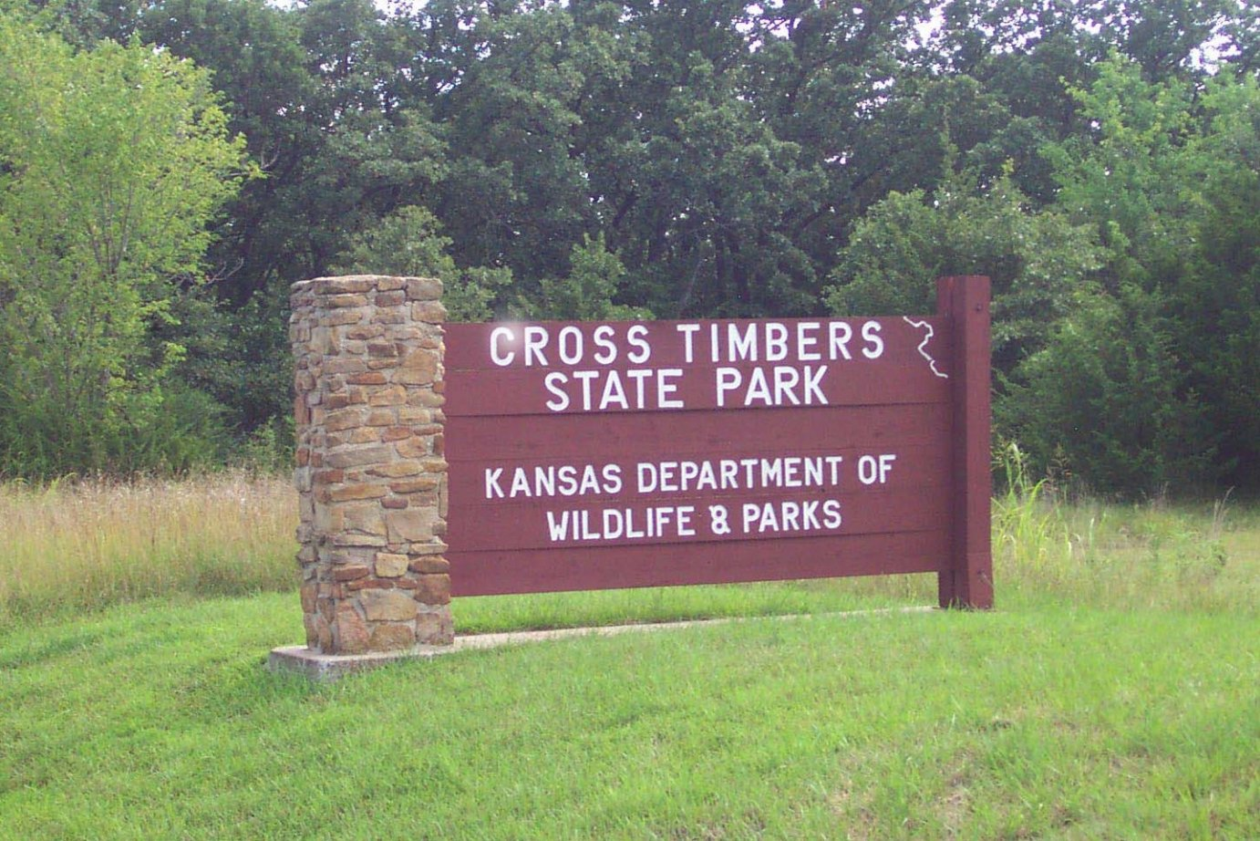 Sign at Cross Timbers State Park, as seen during warmer weather.