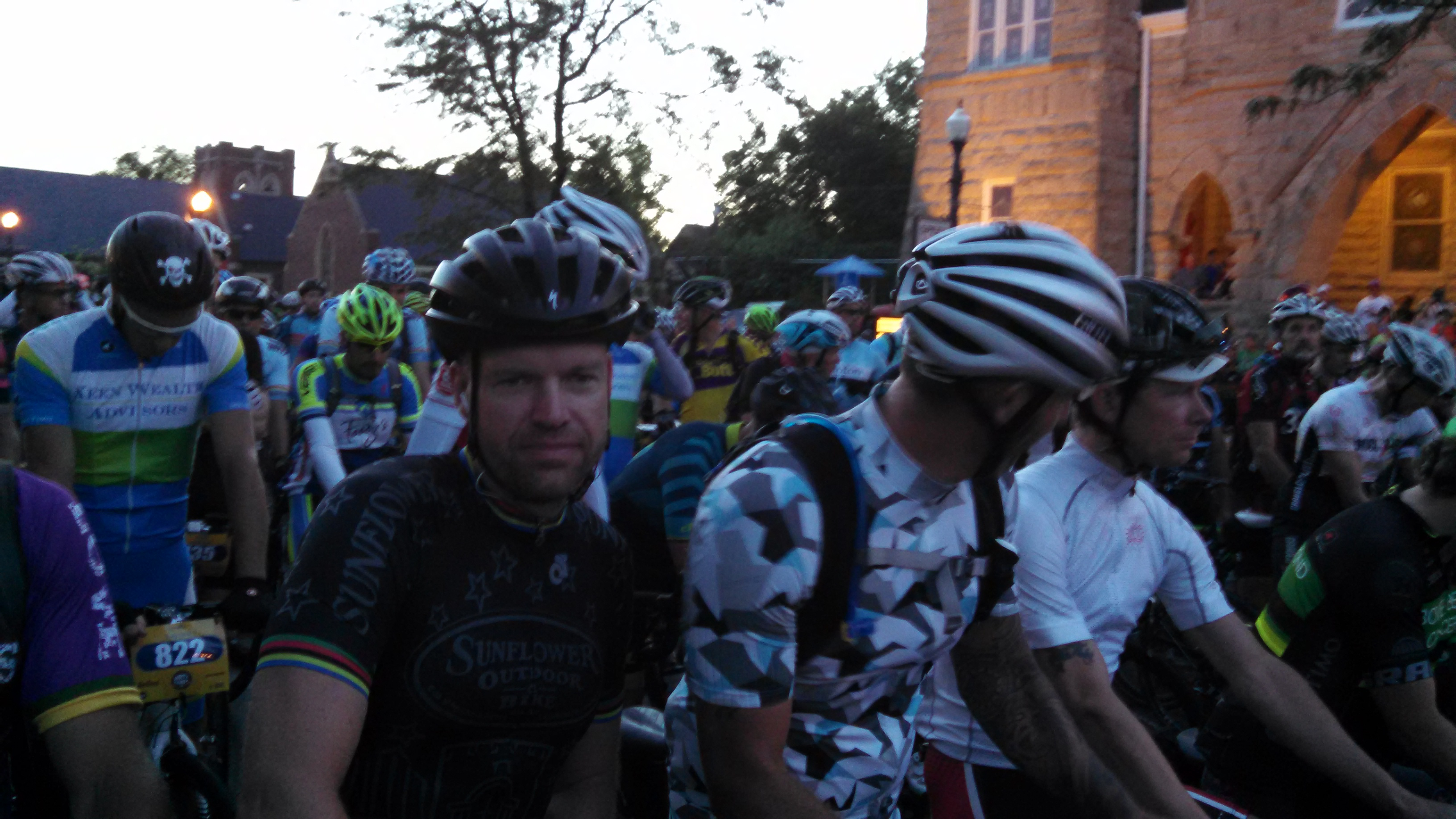 Lawrence resident Dan Hughes, in black, one of the Dirty Kanza riders. (Photo by Greg Echlin)