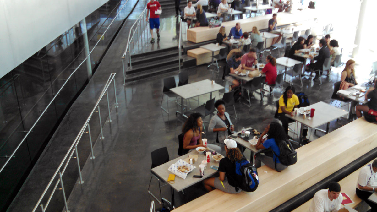 The lower section of the DeBruce Center has a cafe where people can eat. (Photo by Greg Echlin)
