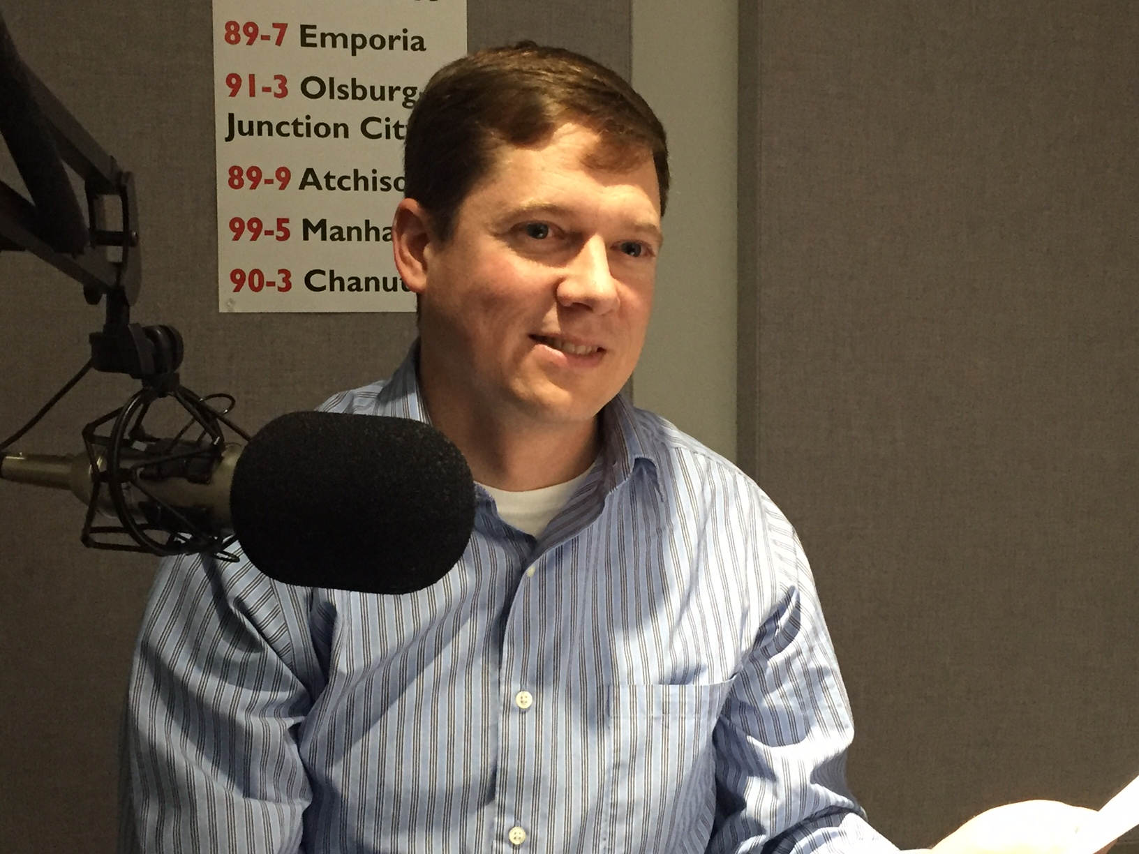 Education advocate Devin Wilson, of Lenexa, recording his guest commentary in the KPR studios. (Photo by J. Schafer)