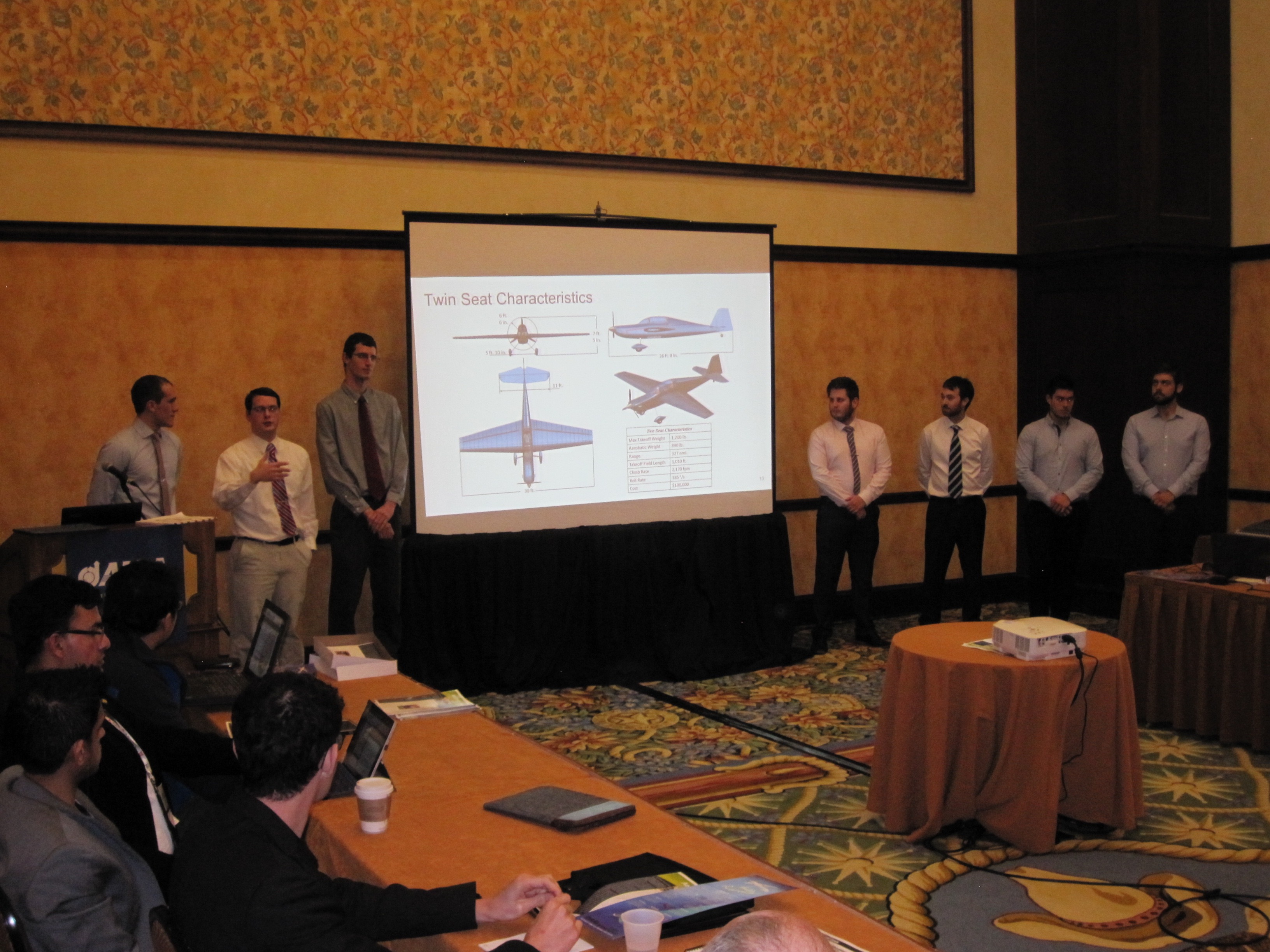 "In January 2017, KU students and their Australian team members, from the Royal Melbourne Institute of Technology, presented their ""Screamin' Dingo"" design to the world's foremost committee of aircraft designers.  The committee lauded the students for producing the top new student aircraft design in the world. (Photo by Richard Bramlette)"