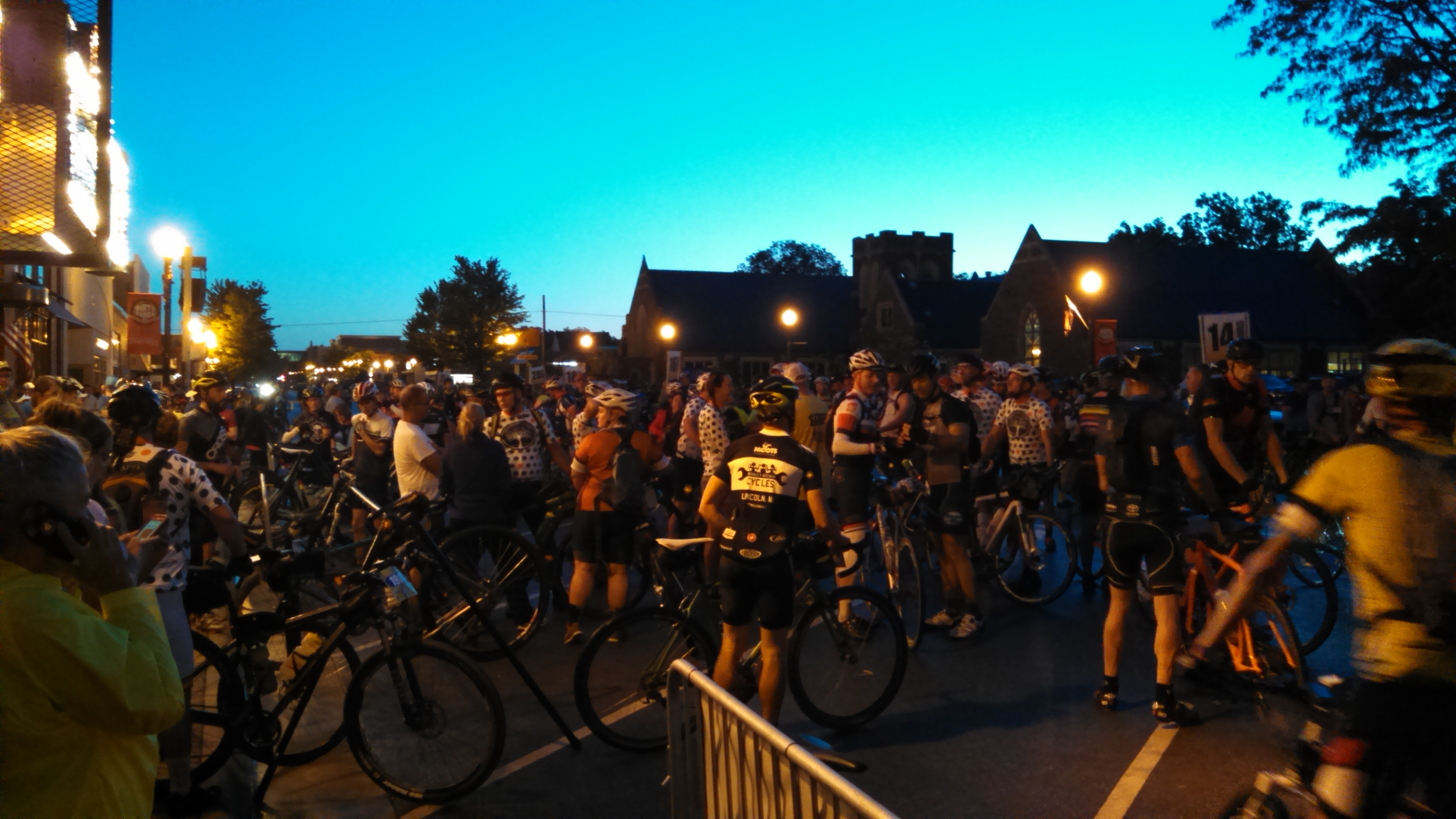 Riders gathered in Emporia in the pre-dawn hours for the start of the 2016 Dirty Kanza (Photo by Greg Echlin)