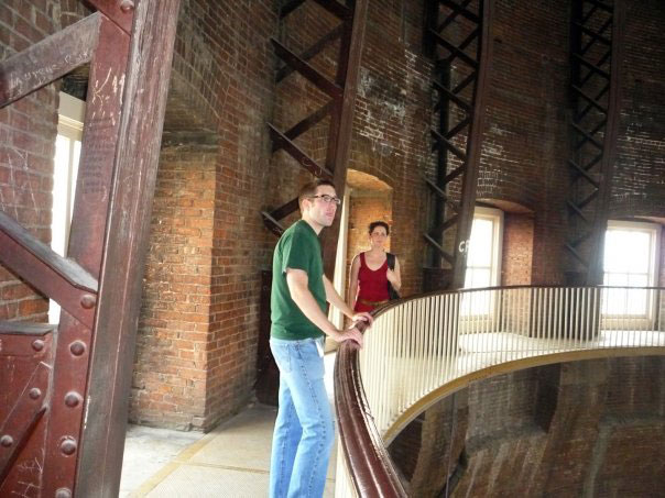 Here's KPR's own Statehouse Reporter, Stephen Koranda, on the Statehouse dome tour in 2009. (Photo by Wendy Huggins)