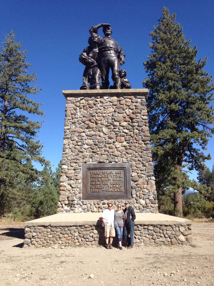 Donner Party Memorial at Donner Memorial State Park in Truckee, California.  When the Donner-Reed party was trapped here in the winter of 1846-47, the snow was approximately 22 feet deep, which would reach the top base of this memorial. (Photo by Joe Gabica)