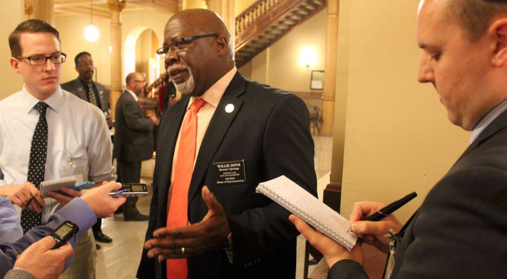 Rep. Willie Dove speaks to reporters after the hearing. (Photo by Stephen Koranda)