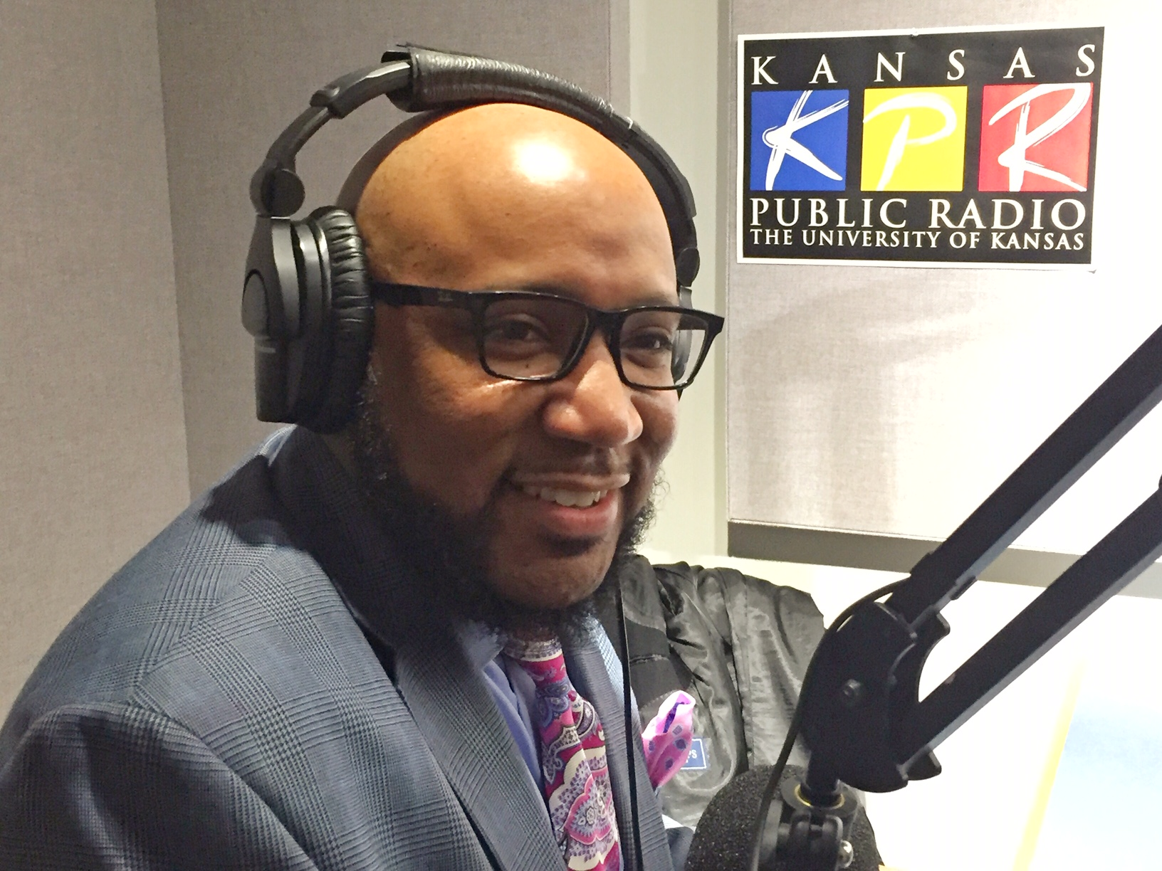 Dr. Anthony Lewis, superintendent for Lawrence Public Schools, answering questions at Kansas Public Radio.  (Photo by J. Schafer)