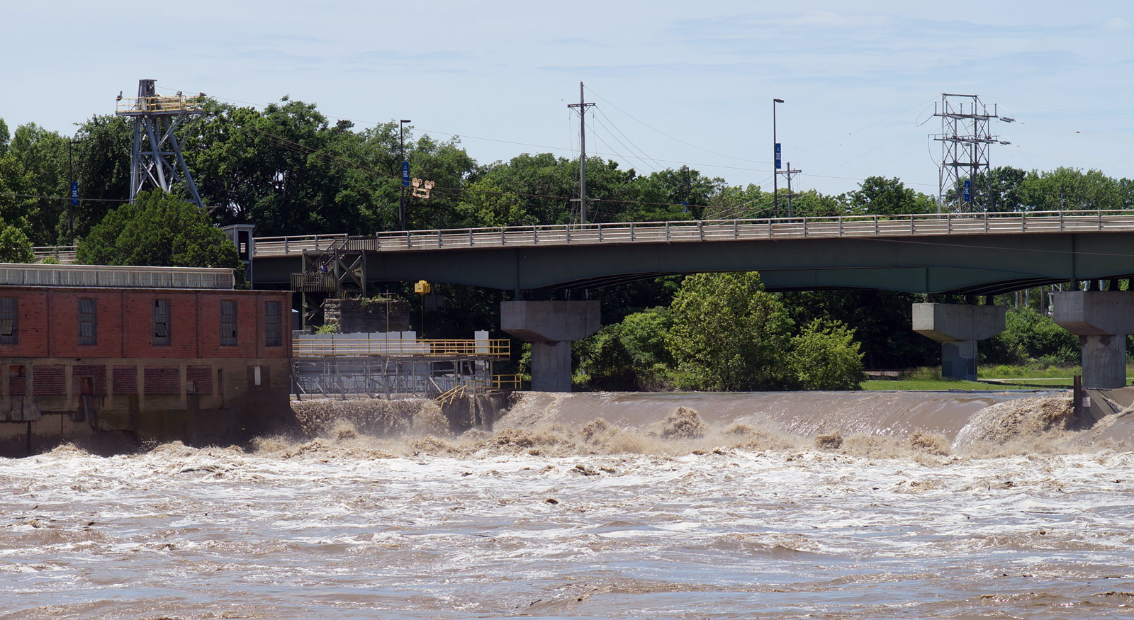 The Kansas River turns into rapids as it passes the dam in Lawrence KS. Photo credit: Danny Mantyla.