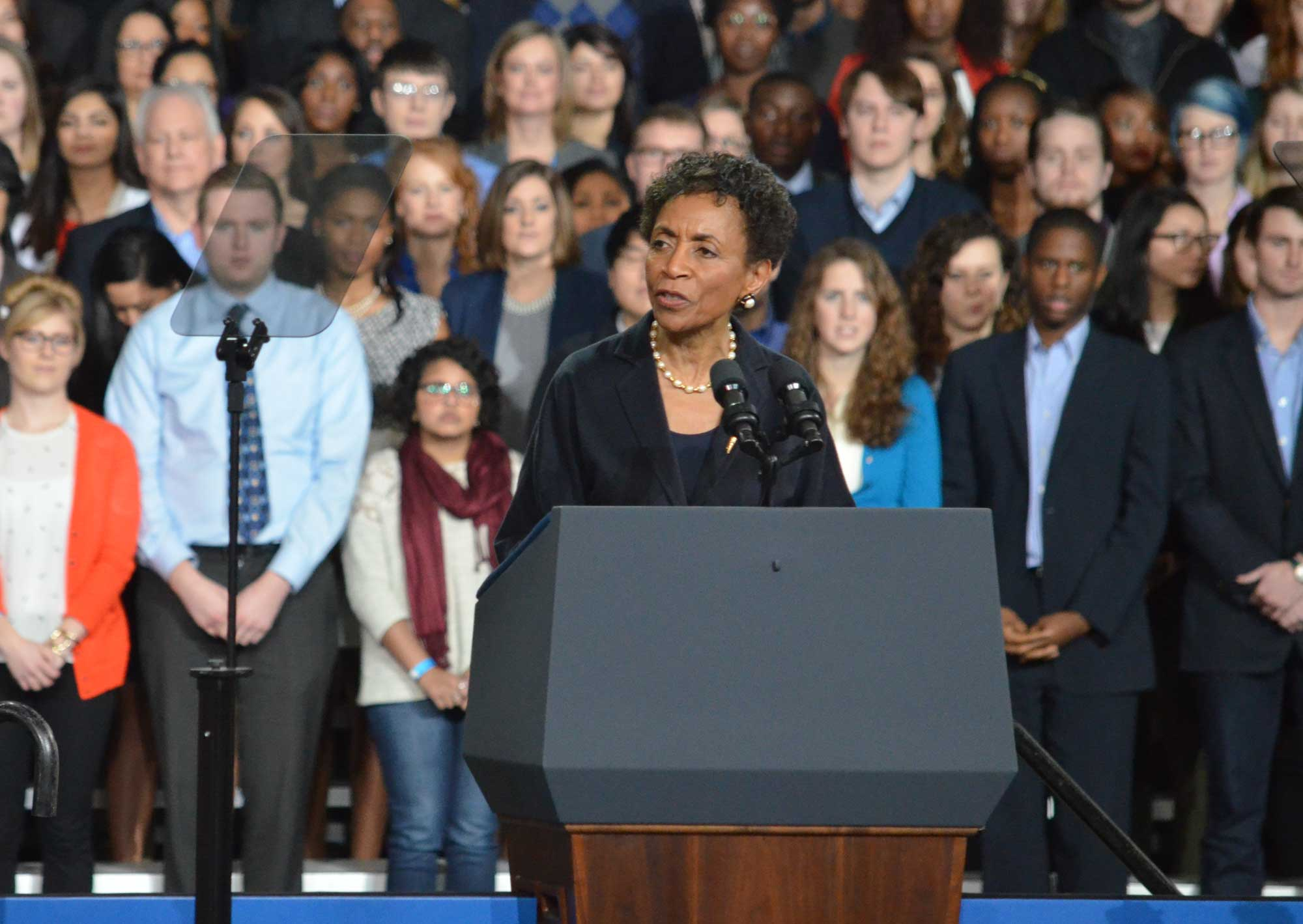 The National Anthem was followed by remarks from Chancellor Bernadette Gray-Little. (Photo by Sheri Hamilton/KPR)