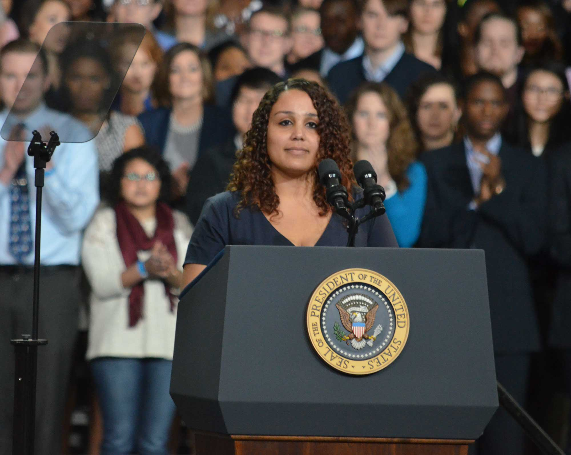 President Obama is introduced by KU senior Alyssa Cole. (Photo by Sheri Hamilton/KPR)