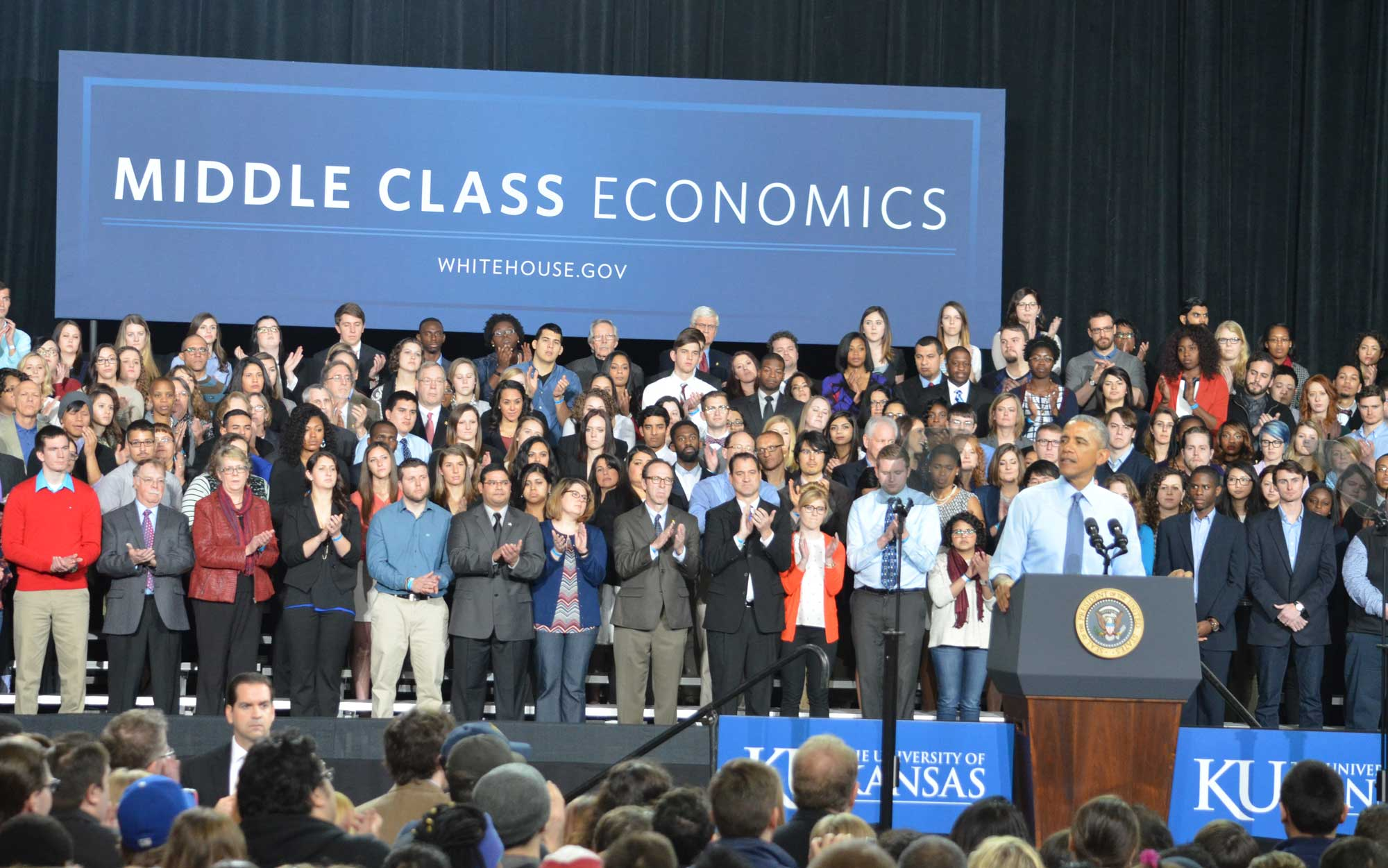 Obama talks about middle class economics. (Photo by Sheri Hamilton/KPR)