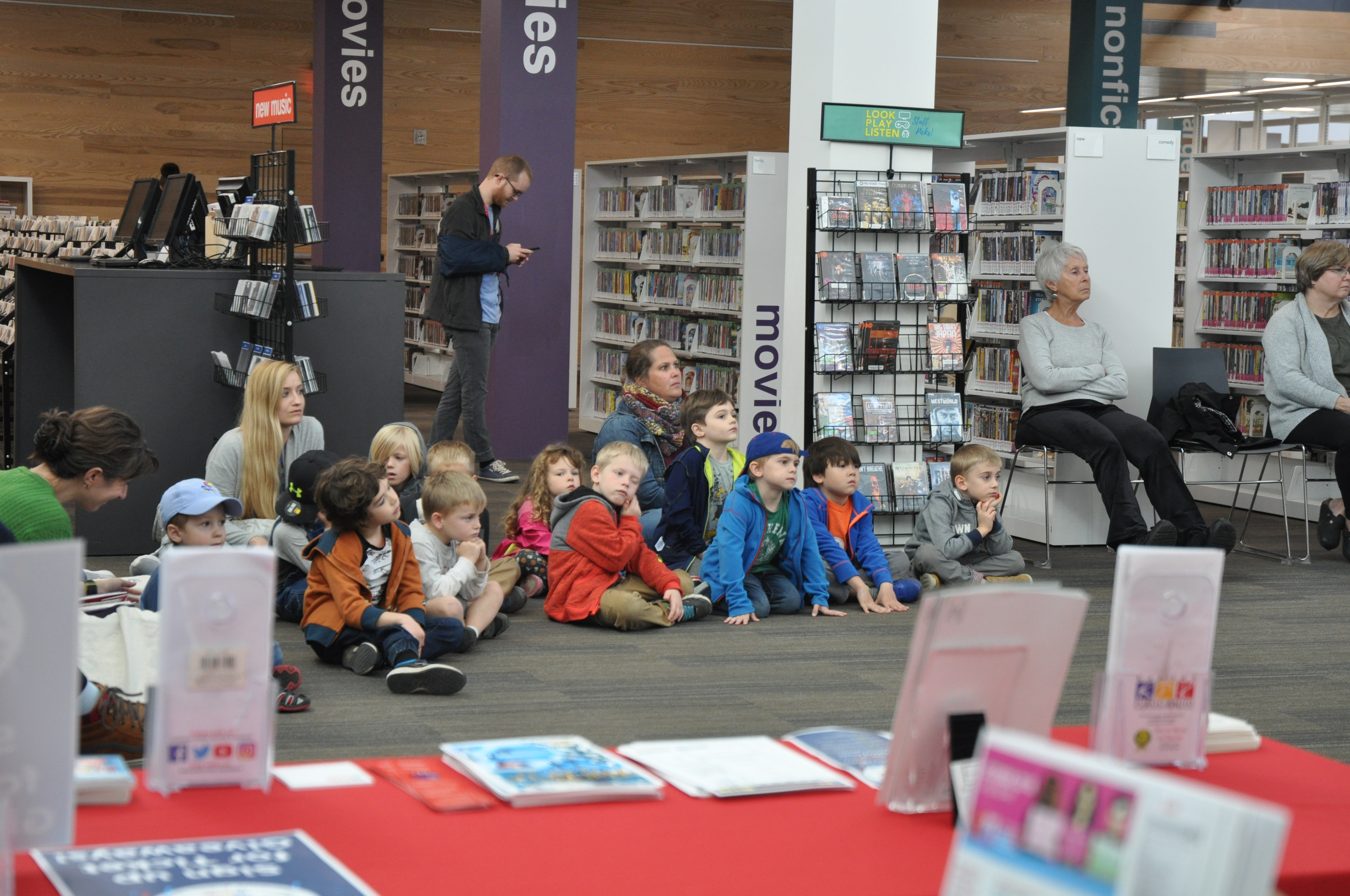 Library patrons were free to watch the live performances throughout the day, including this group of preschoolers.