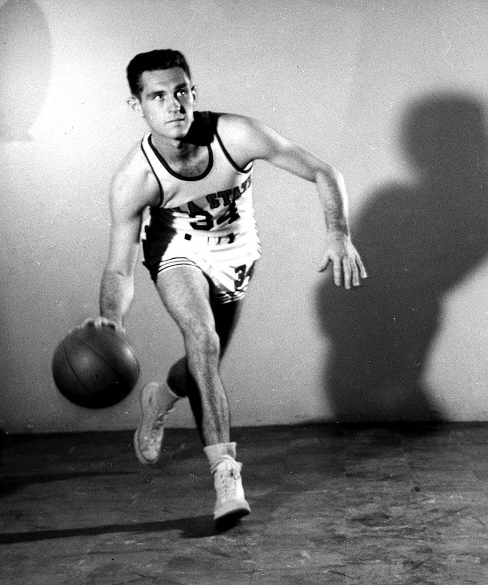 A young Eddie Sutton as a player at Oklahoma A&M, later known as Oklahoma State.  (Photo from OSU Athletics)