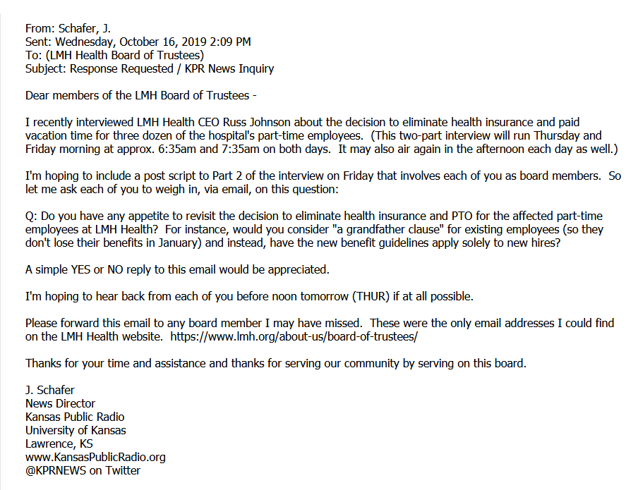 KPR's initial email to LMH Health Board of Trustees.